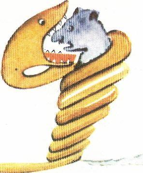 desenho de uma jiboia a engolir uma fera